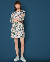 Ted Baker - Blue Printed Shift Dress - Lyst