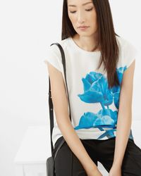 Ted Baker - White Blue Beauty T-shirt - Lyst