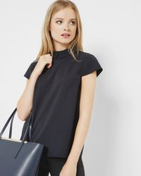 Ted Baker - Blue Embellished Collar Top - Lyst