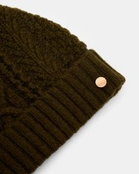 Ted Baker | Green Cable Knit Wool-blend Bobble Hat | Lyst