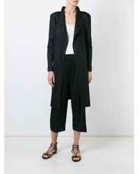 Pleats Please Issey Miyake - Black Coat With Lateral Lacing - Lyst