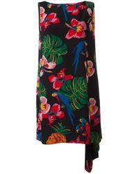 Valentino   Multicolor Tropical-print Draped-back Dress   Lyst