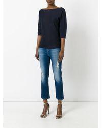 Armani Jeans - Black Boat Neck Tee - Lyst