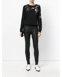 Valentino - Black Embroidered Cotton Sweatshirt - Lyst
