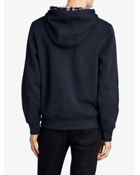 Burberry - Blue Check Detail Hooded Sweatshirt for Men - Lyst