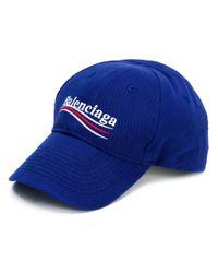 Balenciaga - Blue Logo Print Cotton Hat for Men - Lyst