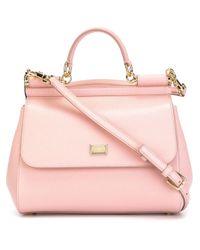 6423d217c6a Lyst - Dolce   Gabbana Miss Sicily Leather Shoulder Bag in Pink