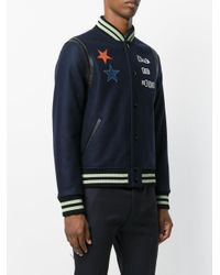 Valentino - Blue Jamie Raid Embroidered Wool Bomber for Men - Lyst