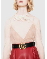 Gucci - Black Leather Belt And Gg Buckle - Lyst
