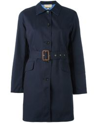 MICHAEL Michael Kors - Blue Belted Trench Coat - Lyst