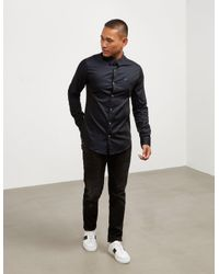 Emporio Armani - Mens Iridescent Long Sleeve Shirt Navy Blue for Men - Lyst