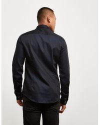 Emporio Armani - Iridescent Long Sleeve Shirt Navy Blue for Men - Lyst