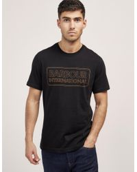 Barbour - Black International Line Logo Short Sleeve T-shirt for Men - Lyst