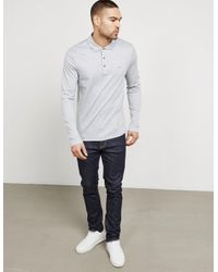 Michael Kors - Gray Mens Sleek Long Sleeve Polo Shirt Grey for Men - Lyst