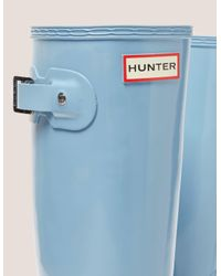 Hunter - Blue Tall Gloss Boot - Lyst