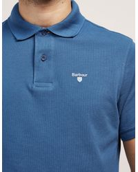 Barbour - Blue Tartan Pique Short Sleeve Polo Shirt for Men - Lyst