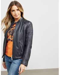 BOSS - Womens Junique Leather Jacket Black - Lyst