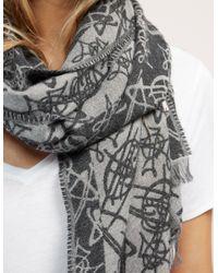 Vivienne Westwood - Gray Scribble Orb Scarf - Lyst