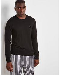 Vivienne Westwood - Mens Crew Neck Knitted Jumper Black for Men - Lyst