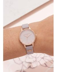 Olivia Burton - Gray Vintage Bow Embellished Strap Watch - Lyst