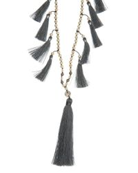 TRIBE + FABLE - Gray Multi Tassel Necklace - Lyst