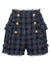 Balmain - Blue Pantaloni Corti Vita Alta - Lyst