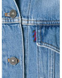 KENZO - Blue Gathered Sleeve Denim Jacket - Lyst