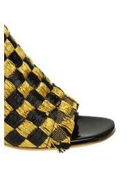 Proenza Schouler - Black And Golden Raffia Sandals - Lyst