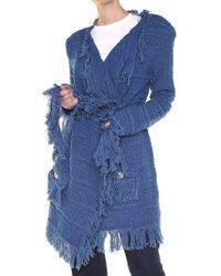 Balmain - Blue Fringed Knitted Jacket - Lyst