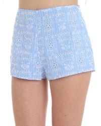 Ermanno Scervino - Light Blue Sangallo Lace Shorts - Lyst