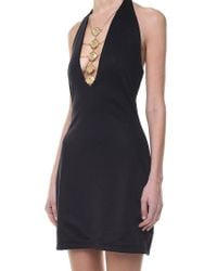 Balmain - Black Jersey Dress With Golden Inserts - Lyst