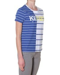 KENZO - White And Blue Stripe Paris T-shirt - Lyst