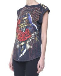 Balmain - Black Printed Jersey Top - Lyst