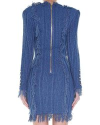 Balmain - Blue Fringed Double-breasted Dress - Lyst