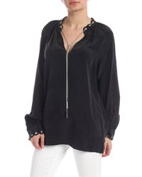 Michael Kors Silk Blouse In Black With Chain Detail