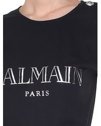 Balmain - Black And Silver Jersey Top With Logo - Lyst