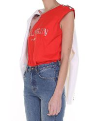 Balmain - Red And Silver Jersey Top With Logo - Lyst
