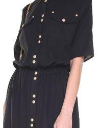 Balmain - Blue Long Dress With Golden Buttons - Lyst
