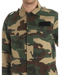 Off-White c/o Virgil Abloh - Green Camouflage Shirt With Snap Buttons for Men - Lyst