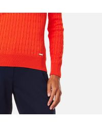 Gant - Orange Sporty Cable Crew Neck Jumper - Lyst