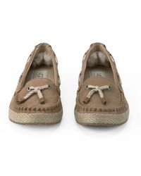 Ugg - Brown Chivon Leather Moccasin Shoes - Lyst