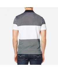 Lacoste - Gray Block Stripe Polo Shirt for Men - Lyst
