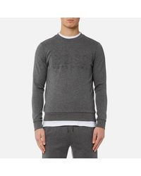 BOSS Green - Gray Salbo Large Logo Sweatshirt for Men - Lyst