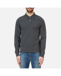 Tommy Hilfiger - Gray Slim Fit Tipped Long Sleeve Polo Shirt for Men - Lyst