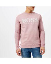 BOSS Orange - Pink Walker Logo Sweatshirt for Men - Lyst