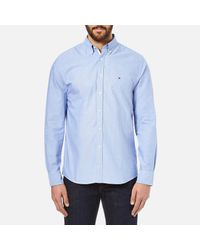 Tommy Hilfiger - Blue Plain Oxford Long Sleeve Shirt for Men - Lyst