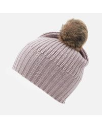 Ugg - Multicolor Beanie With Fur Pom - Lyst