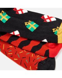 Happy Socks - Red Holiday Giftbox 3 Pack Socks for Men - Lyst