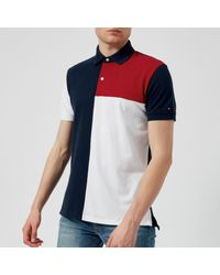Tommy Hilfiger - Blue Unique Colour Block Polo Shirt for Men - Lyst