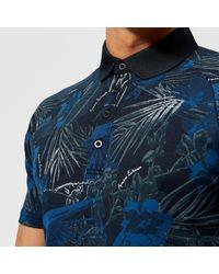 Armani Exchange Blue Printed Polo Shirt for men